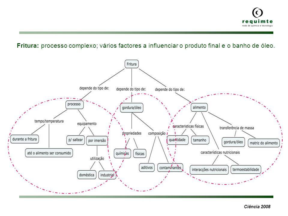 Ciência 2008 Fritura: processo complexo; vários factores a influenciar o produto final e o banho de óleo.