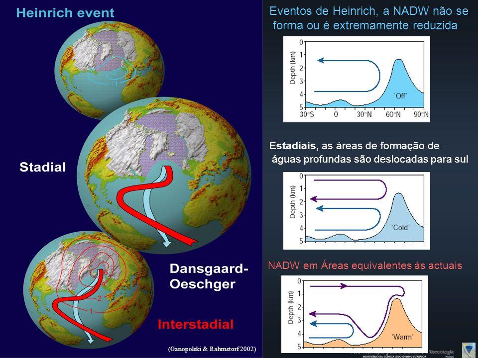 (Ganopolski & Rahmstorf 2002) NADW em Áreas equivalentes ás actuais Estadiais, as áreas de formação de águas profundas são deslocadas para sul Eventos de Heinrich, a NADW não se forma ou é extremamente reduzida