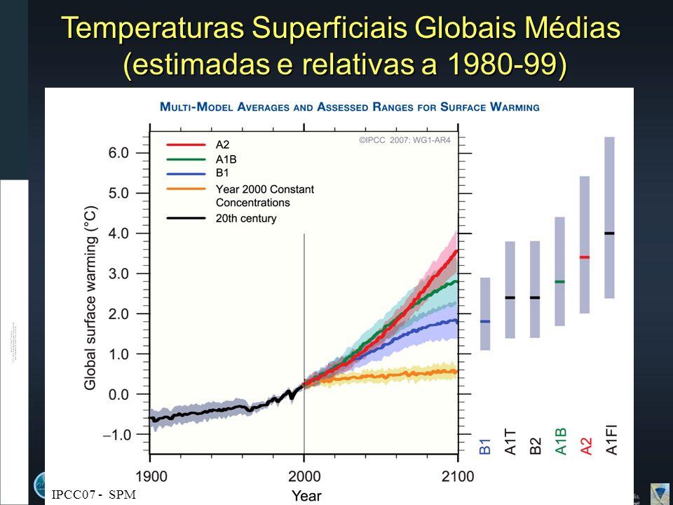 Temperaturas Superficiais Globais Médias (estimadas e relativas a 1980-99) IPCC07 - SPM