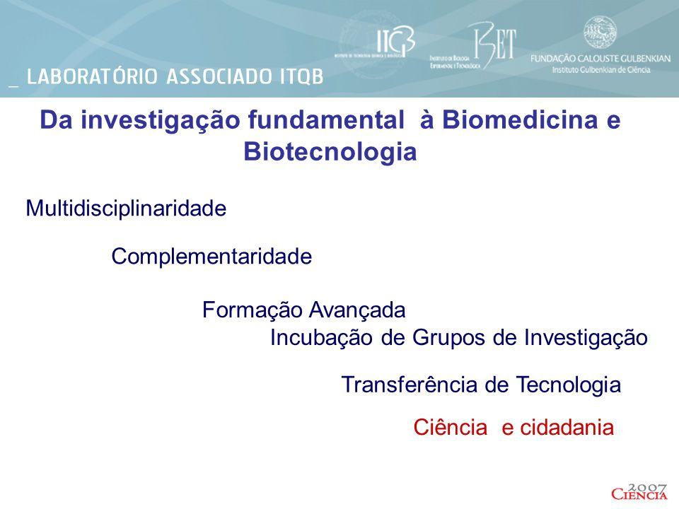 Da investigação fundamental à Biomedicina e Biotecnologia Multidisciplinaridade Complementaridade Formação Avançada Incubação de Grupos de Investigaçã