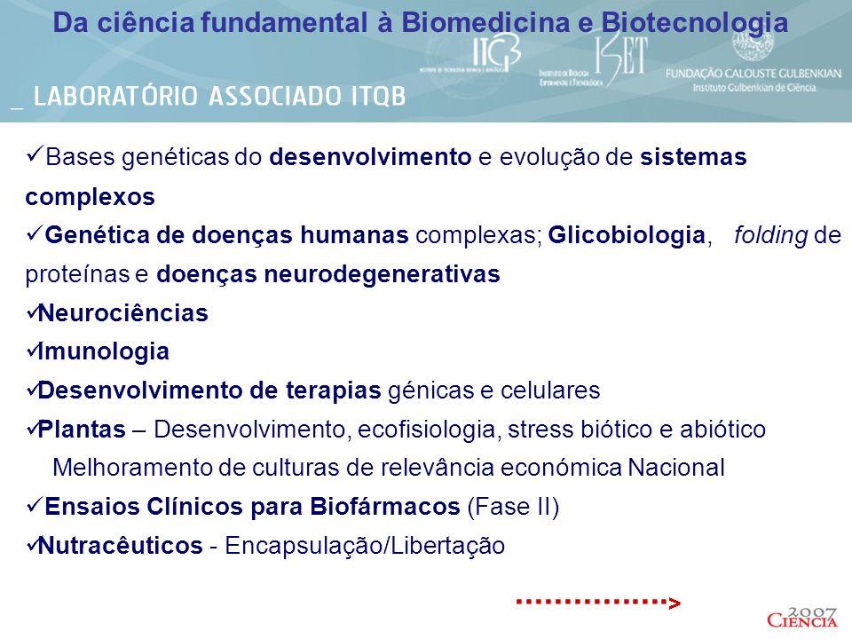 Bases genéticas do desenvolvimento e evolução de sistemas complexos Genética de doenças humanas complexas; Glicobiologia, folding de proteínas e doenç