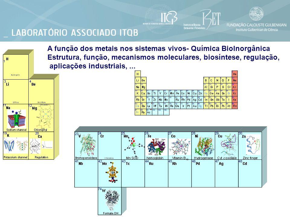 A função dos metais nos sistemas vivos- Química BioInorgânica Estrutura, função, mecanismos moleculares, biosíntese, regulação, aplicações industriais