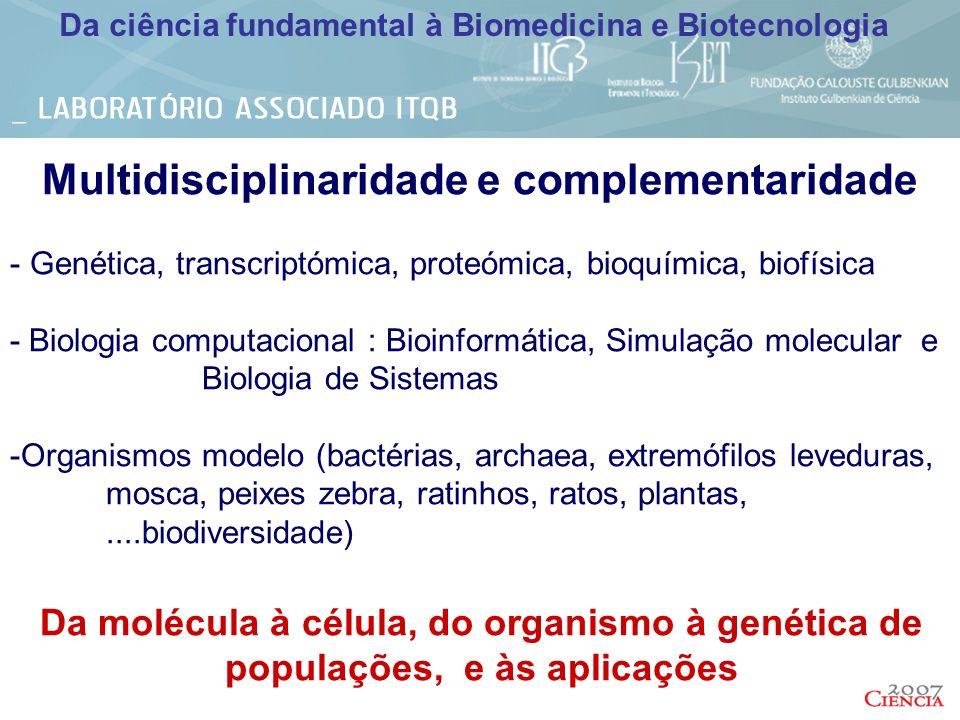 Da ciência fundamental à Biomedicina e Biotecnologia INFRAESTRUTURAS DE APOIO Á INVESTIGAÇÂO Biotério/ Zebrafish European Mouse Mutant Archive Unidade Piloto (fermentação e purificação) Serviços Analíticos GLP - análise elementar, análise e sequenciação de aminoácidos, Espectrometria de Massa, análises químicas, microbiologia Histologia BioInformatica Imagiologiacelular e cell sorting Genómica e transcriptómica (Plataforma Affimetrix) Espectroscopias – RMN, RPE, Raman, Dicroísmo Circular, Fotofísica, Cinética rápida, FT-Infravermelho (in vitro, in vivo), Surface Plasmon Resonance Espectrometria de Massa Cristalografia Redes Nacionais de RMN (5x) e Espectrometria de Massa (4x)