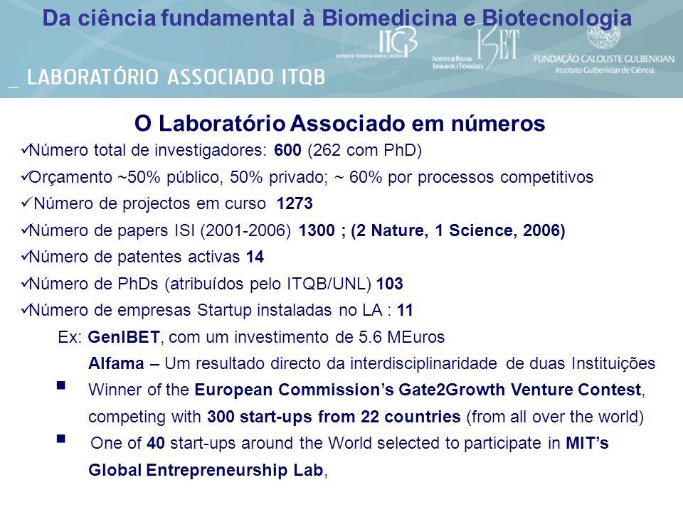 O Laboratório Associado em números Número total de investigadores: 600 (262 com PhD) Orçamento ~50% público, 50% privado; ~ 60% por processos competit
