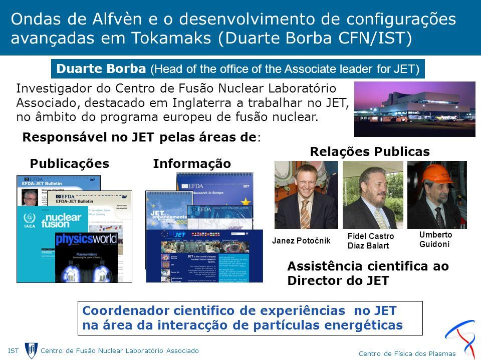 IST Centro de Fusão Nuclear Laborat ó rio Associado Centro de F í sica dos Plasmas Ondas de Alfvèn e o desenvolvimento de configurações avançadas em Tokamaks (Duarte Borba CFN/IST) Investigador do Centro de Fusão Nuclear Laboratório Associado, destacado em Inglaterra a trabalhar no JET, no âmbito do programa europeu de fusão nuclear.