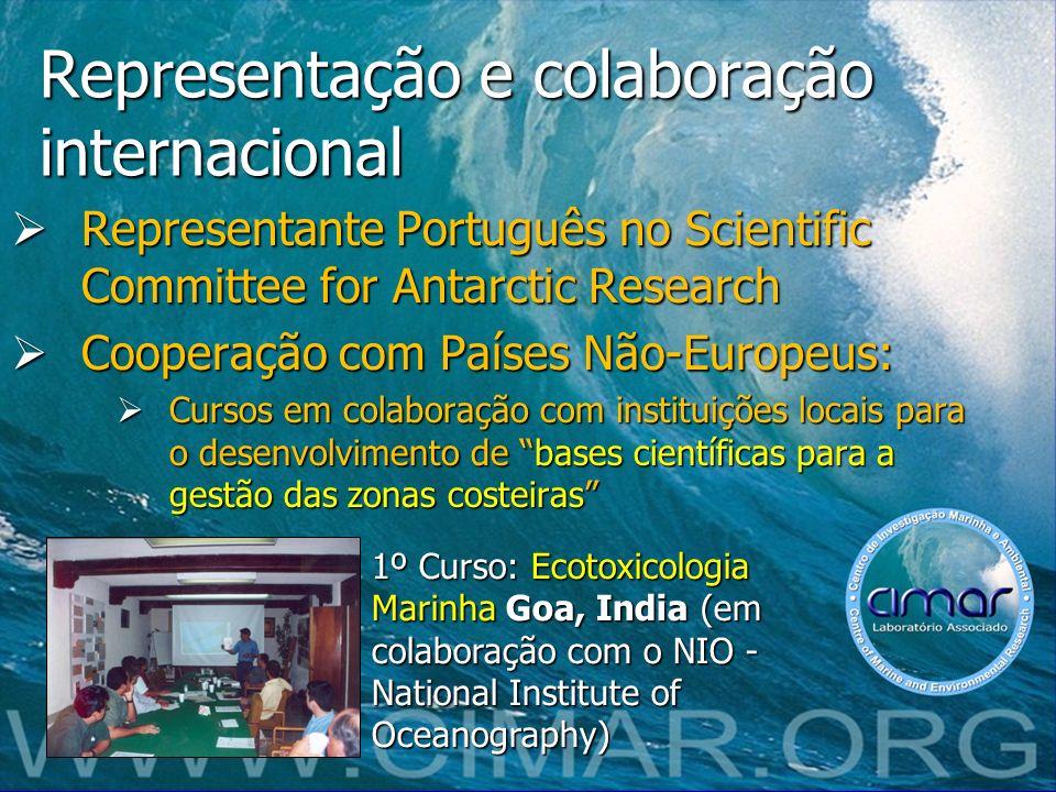 Representação e colaboração internacional Representante Português no Scientific Committee for Antarctic Research Representante Português no Scientific