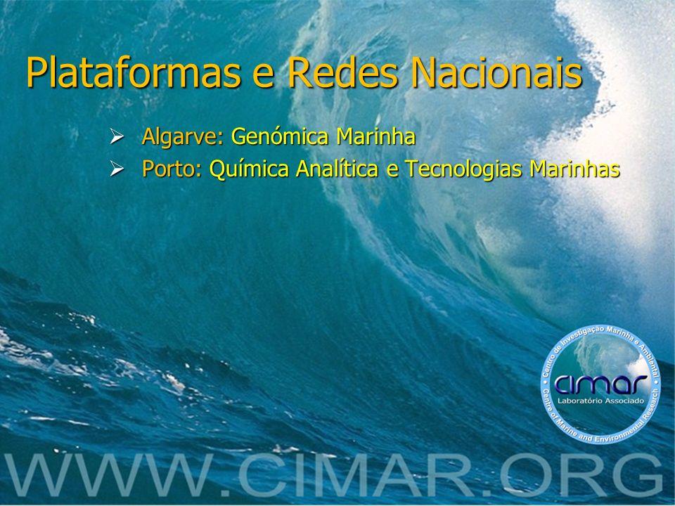 Plataformas e Redes Nacionais Algarve: Genómica Marinha Algarve: Genómica Marinha Porto: Química Analítica e Tecnologias Marinhas Porto: Química Analí