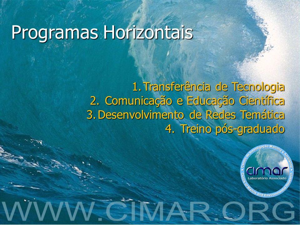 Programas Horizontais 1.Transferência de Tecnologia 2. Comunicação e Educação Científica 3.Desenvolvimento de Redes Temática 4. Treino pós-graduado