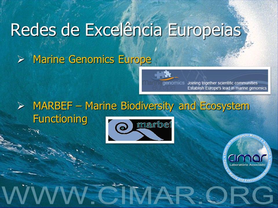 Redes de Excelência Europeias Marine Genomics Europe Marine Genomics Europe MARBEF – Marine Biodiversity and Ecosystem Functioning MARBEF – Marine Bio