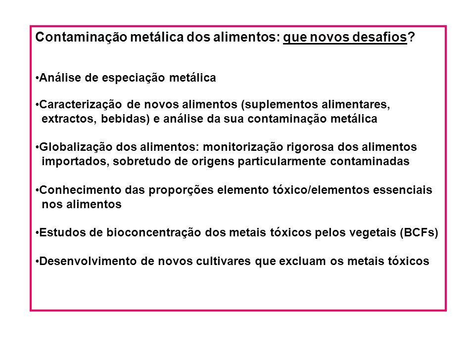 Contaminação metálica dos alimentos: que novos desafios.