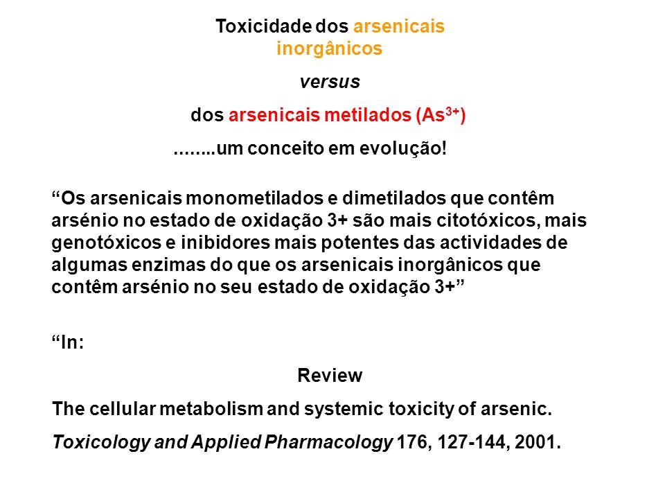 Toxicidade dos arsenicais inorgânicos versus dos arsenicais metilados (As 3+ )........um conceito em evolução.