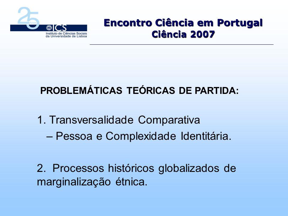 Encontro Ciência em Portugal Ciência 2007 PROBLEMÁTICAS TEÓRICAS DE PARTIDA: 1.