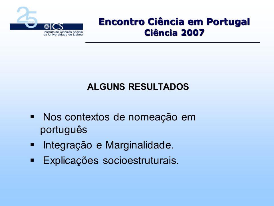 Encontro Ciência em Portugal Ciência 2007 ALGUNS RESULTADOS Nos contextos de nomeação em português Integração e Marginalidade.