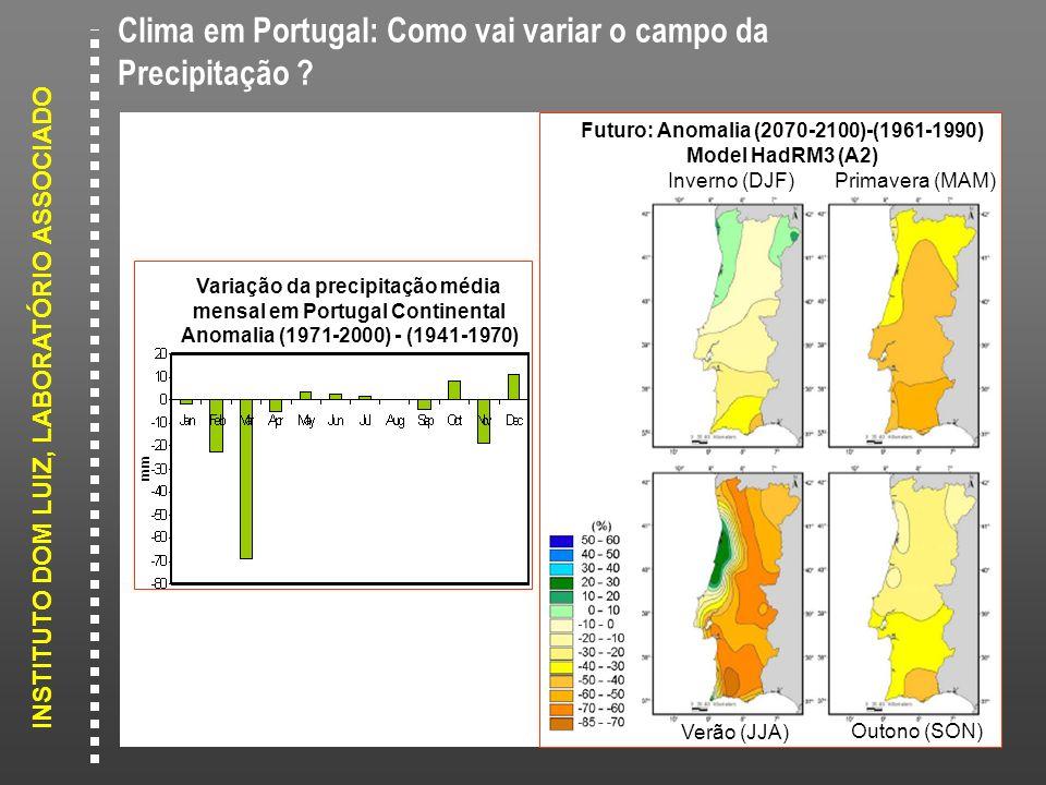 INSTITUTO DOM LUIZ, LABORATÓRIO ASSOCIADO Variação da precipitação média mensal em Portugal Continental Anomalia (1971-2000) - (1941-1970) Inverno (DJ