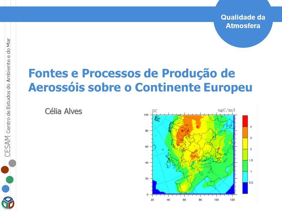 CESAM Centro de Estudos do Ambiente e do Mar Qualidade da Atmosfera Fontes e Processos de Produção de Aerossóis sobre o Continente Europeu Célia Alves