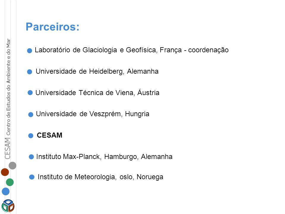 CESAM Centro de Estudos do Ambiente e do Mar Parceiros: Laboratório de Glaciologia e Geofísica, França - coordenação Universidade de Heidelberg, Alema