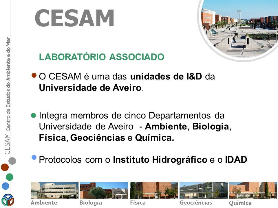 CESAM LABORATÓRIO ASSOCIADO O CESAM é uma das unidades de I&D da Universidade de Aveiro. Integra membros de cinco Departamentos da Universidade de Ave