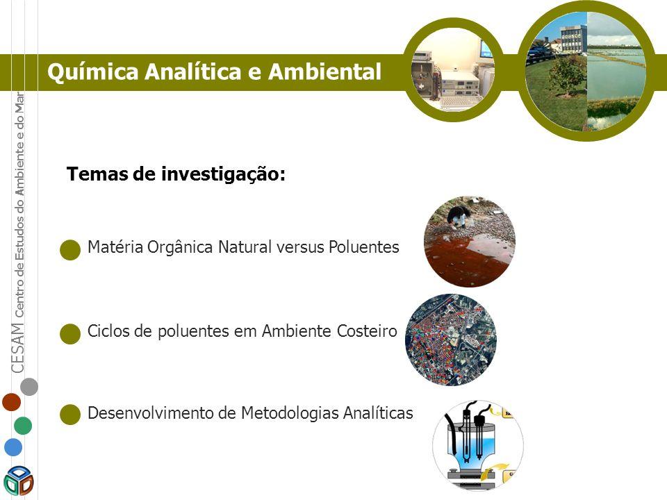 Química Analítica e Ambiental Temas de investigação: Matéria Orgânica Natural versus Poluentes Ciclos de poluentes em Ambiente Costeiro Desenvolviment