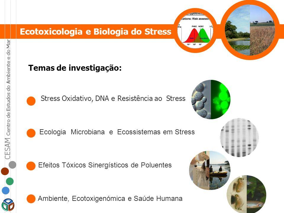 Temas de investigação: Stress Oxidativo, DNA e Resistência ao Stress Ecologia Microbiana e Ecossistemas em Stress Efeitos Tóxicos Sinergísticos de Pol