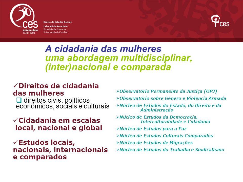 A cidadania das mulheres uma abordagem multidisciplinar, (inter)nacional e comparada Direitos de cidadania das mulheres direitos civis, políticos econ