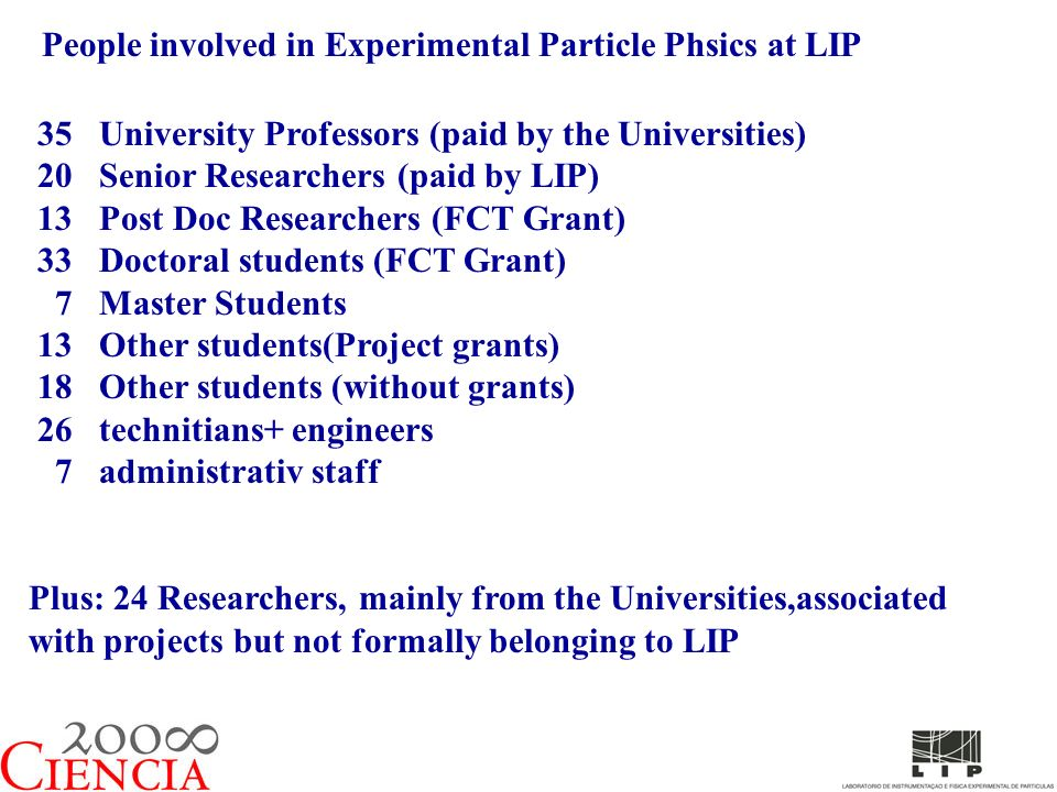 People involved in Experimental Particle Phsics at LIP 35 University Professors (paid by the Universities) 20 Senior Researchers (paid by LIP) 13 Post Doc Researchers (FCT Grant) 33 Doctoral students (FCT Grant) 7 Master Students 13 Other students(Project grants) 18 Other students (without grants) 26 technitians+ engineers 7 administrativ staff Plus: 24 Researchers, mainly from the Universities,associated with projects but not formally belonging to LIP