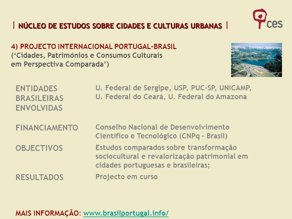 NÚCLEO DE ESTUDOS SOBRE CIDADES E CULTURAS URBANAS NÚCLEO DE ESTUDOS SOBRE CIDADES E CULTURAS URBANAS MAIS INFORMAÇÃO: www.brasilportugal.info/www.bra