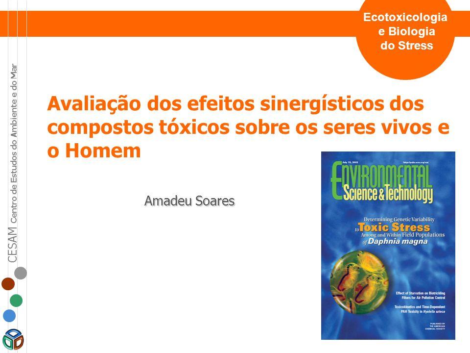 CESAM Centro de Estudos do Ambiente e do Mar Avaliação dos efeitos sinergísticos dos compostos tóxicos sobre os seres vivos e o Homem EFEITO Exposição de agentes de stress -Químico -Físico -Biológico isolados em mistura Avaliação do Impacto no Ambiente e no Homem Neonicotinoides (imidaclopride e tiaclopride) Organofosforados (clorpirifos) Elementos metálicos (níquel) Fungicidas (carbendazim, procloraz) oxigénio dissolvido radiação UV temperatura a partir de uma lista inicial de 150 compostos e agentes de stress