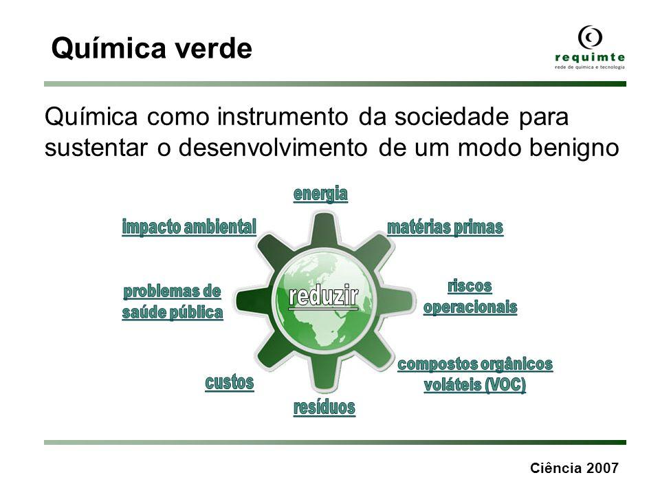 Ciência 2007 Química verde Química como instrumento da sociedade para sustentar o desenvolvimento de um modo benigno