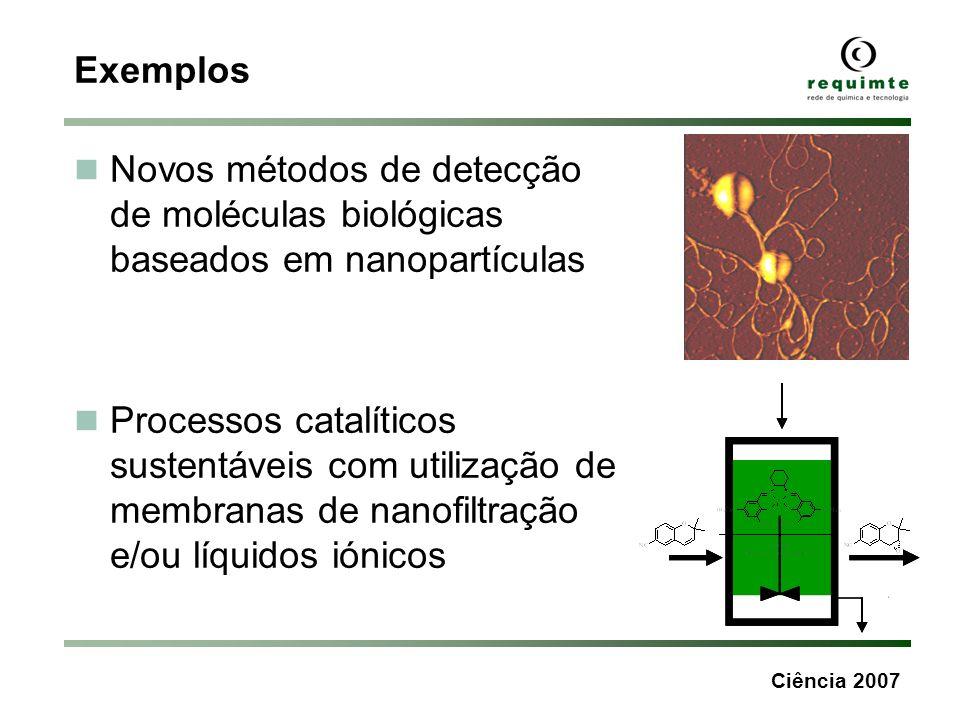 Ciência 2007 Exemplos Novos métodos de detecção de moléculas biológicas baseados em nanopartículas Processos catalíticos sustentáveis com utilização d