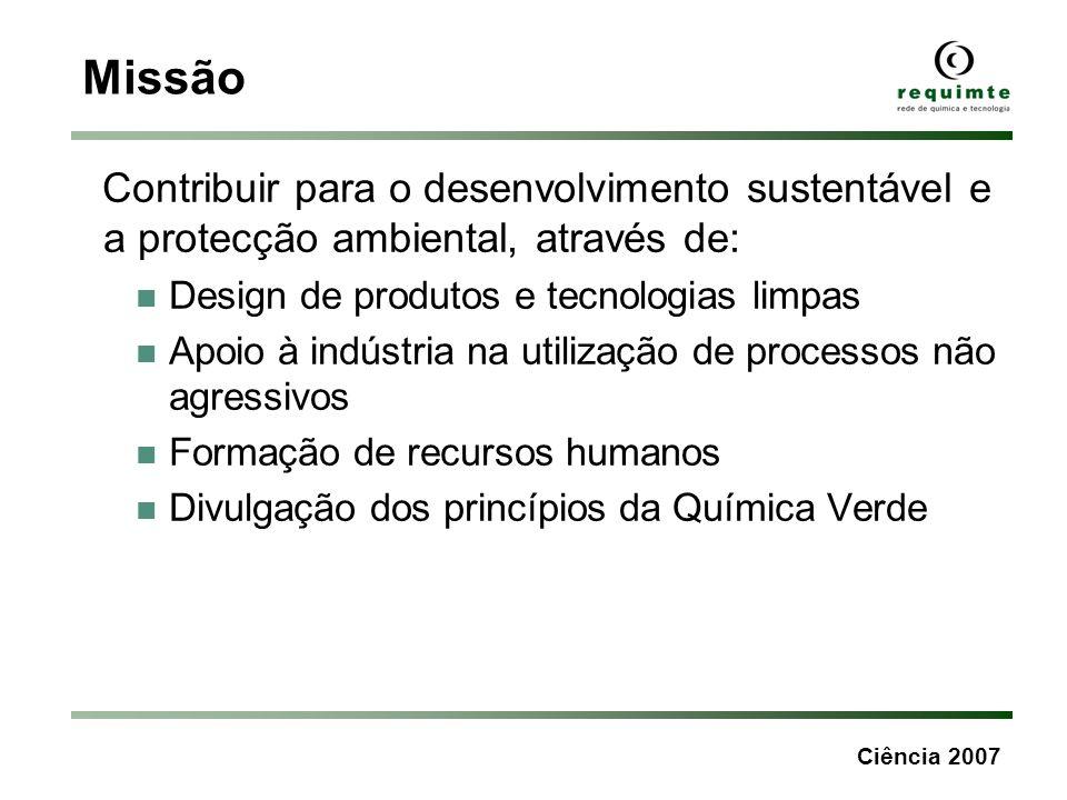 Ciência 2007 Missão Contribuir para o desenvolvimento sustentável e a protecção ambiental, através de: Design de produtos e tecnologias limpas Apoio à