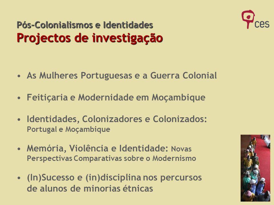Pós-Colonialismos e Identidades Projectos de investigação As Mulheres Portuguesas e a Guerra Colonial Feitiçaria e Modernidade em Moçambique Identidad