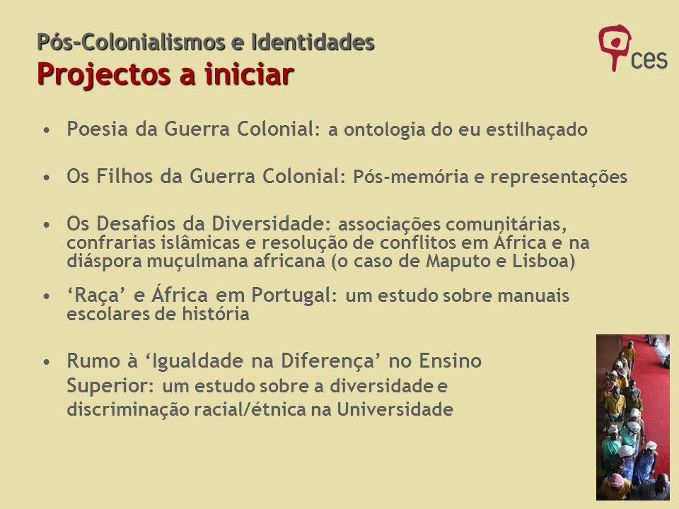 Pós-Colonialismos e Identidades Projectos a iniciar Poesia da Guerra Colonial : a ontologia do eu estilhaçado Os Filhos da Guerra Colonial : Pós-memór
