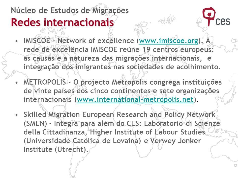 Redes internacionais Núcleo de Estudos de Migrações Redes internacionais IMISCOE – Network of excellence (www.imiscoe.org). A rede de excelência IMISC