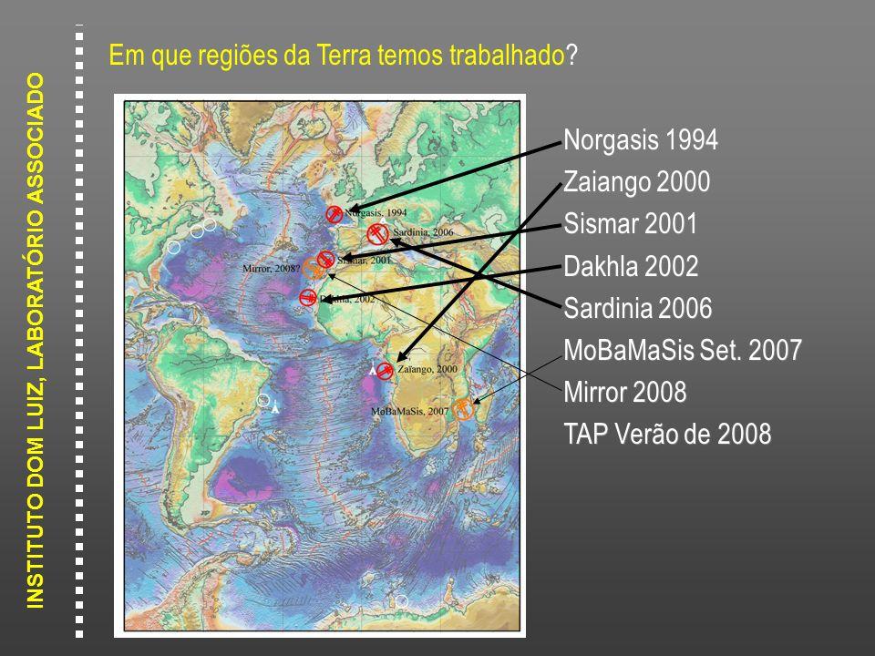 INSTITUTO DOM LUIZ, LABORATÓRIO ASSOCIADO Em que regiões da Terra temos trabalhado? Norgasis 1994 Zaiango 2000 Sismar 2001 Dakhla 2002 Sardinia 2006 M