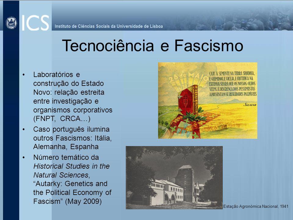 Tecnociência e Fascismo Laboratórios e construção do Estado Novo: relação estreita entre investigação e organismos corporativos (FNPT, CRCA…) Caso por