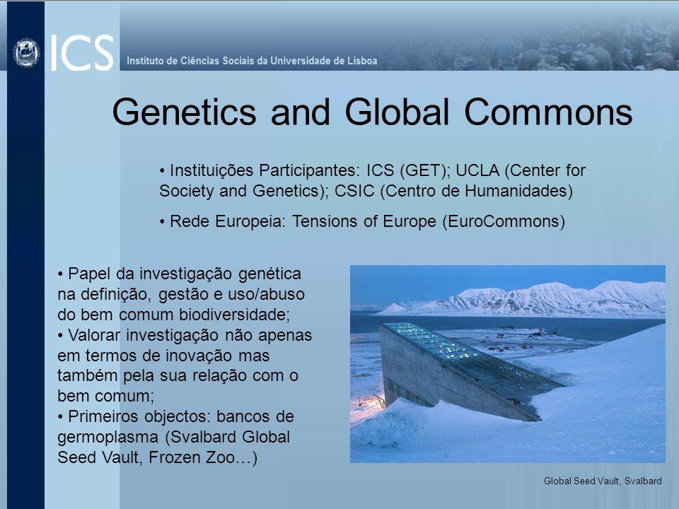Genetics and Global Commons Instituições Participantes: ICS (GET); UCLA (Center for Society and Genetics); CSIC (Centro de Humanidades) Rede Europeia: