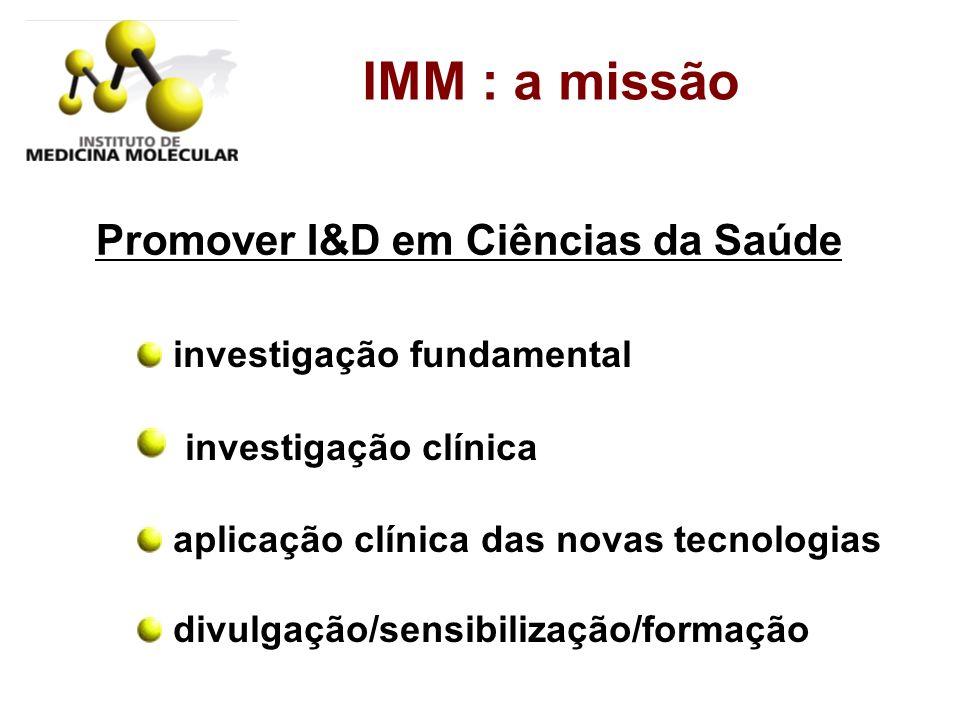 IMM : a missão investigação fundamental investigação clínica aplicação clínica das novas tecnologias divulgação/sensibilização/formação Promover I&D e