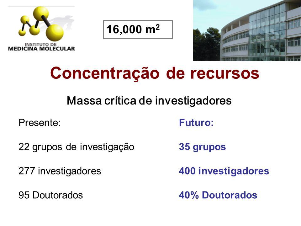 Concentração de recursos Massa crítica de investigadores Presente: 22 grupos de investigação 277 investigadores 95 Doutorados Futuro: 35 grupos 400 in