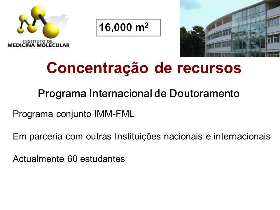 Concentração de recursos Programa Internacional de Doutoramento Programa conjunto IMM-FML Em parceria com outras Instituições nacionais e internaciona