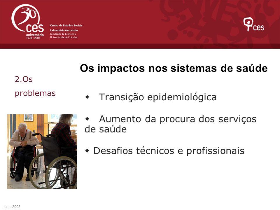 Os impactos nos sistemas de saúde Transição epidemiológica Aumento da procura dos serviços de saúde Desafios técnicos e profissionais Julho 2008 2.Os
