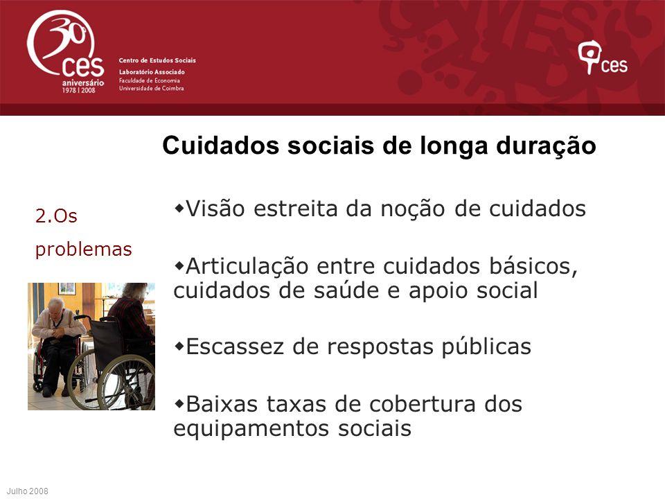 Cuidados sociais de longa duração Visão estreita da noção de cuidados Articulação entre cuidados básicos, cuidados de saúde e apoio social Escassez de