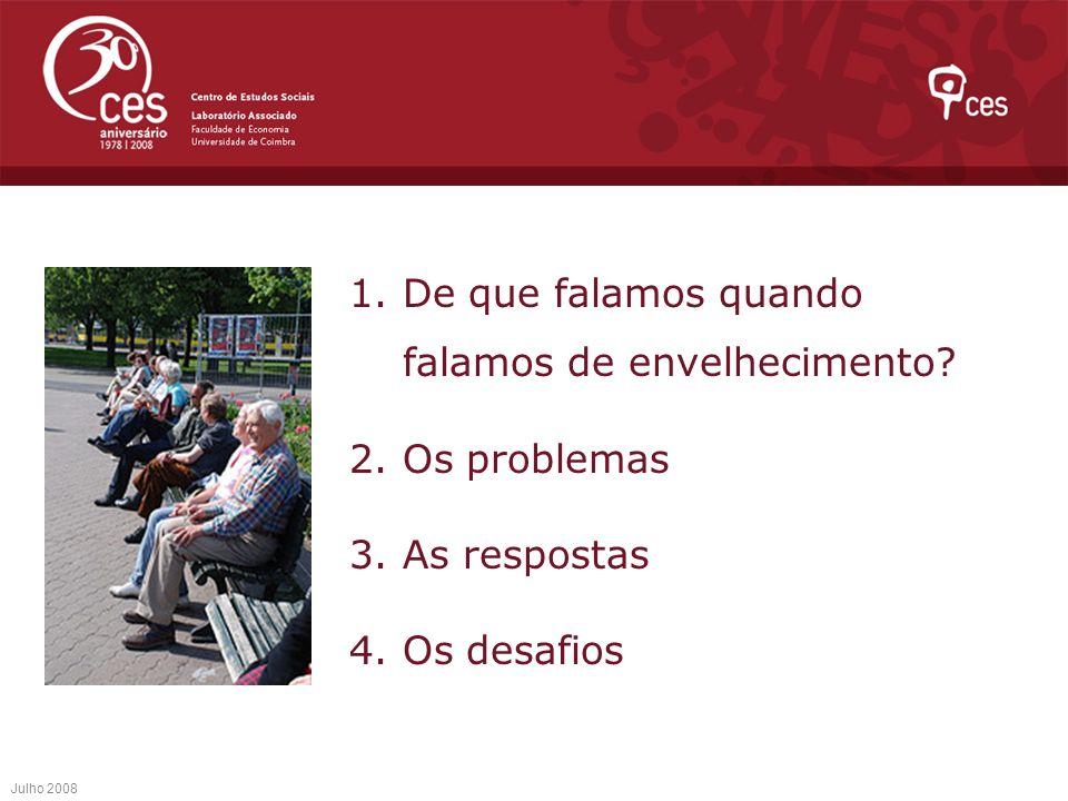 Desigualdades A Velhice é uma categoria diversa que esconde desigualdades Etárias Sexuais Económicas e sociais Julho 2008 2.Os problemas