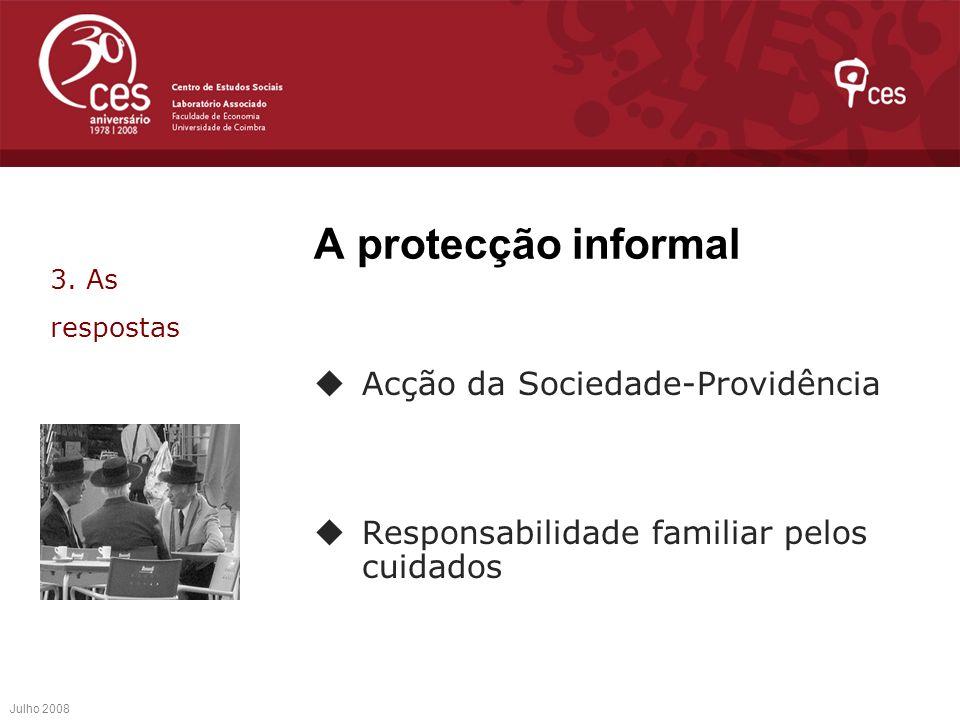 A protecção informal Acção da Sociedade-Providência Responsabilidade familiar pelos cuidados Julho 2008 3. As respostas