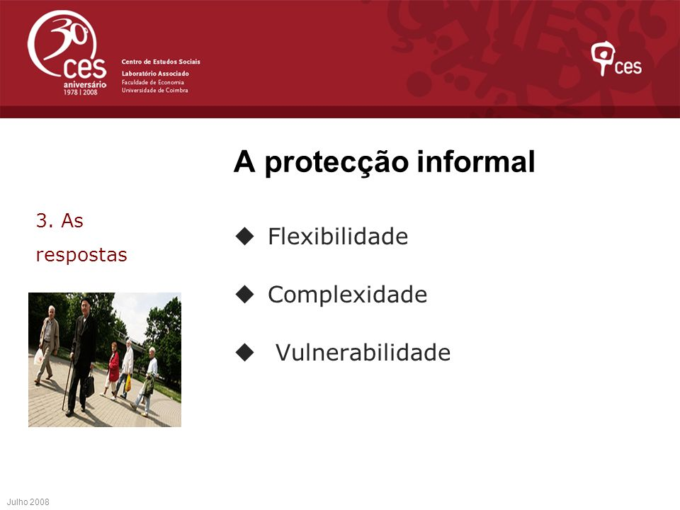A protecção informal Flexibilidade Complexidade Vulnerabilidade Julho 2008 3. As respostas