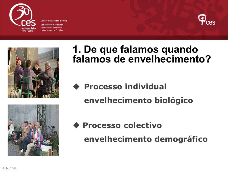 1. De que falamos quando falamos de envelhecimento? Processo individual envelhecimento biológico Processo colectivo envelhecimento demográfico Julho 2