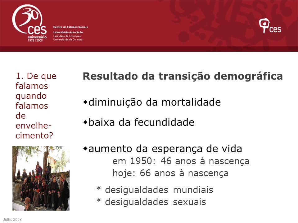 Promover a participação dos/as idosos/as Desenvolver políticas inclusivas Combater activamente as desigualdades Julho 2008 4.Os desafios