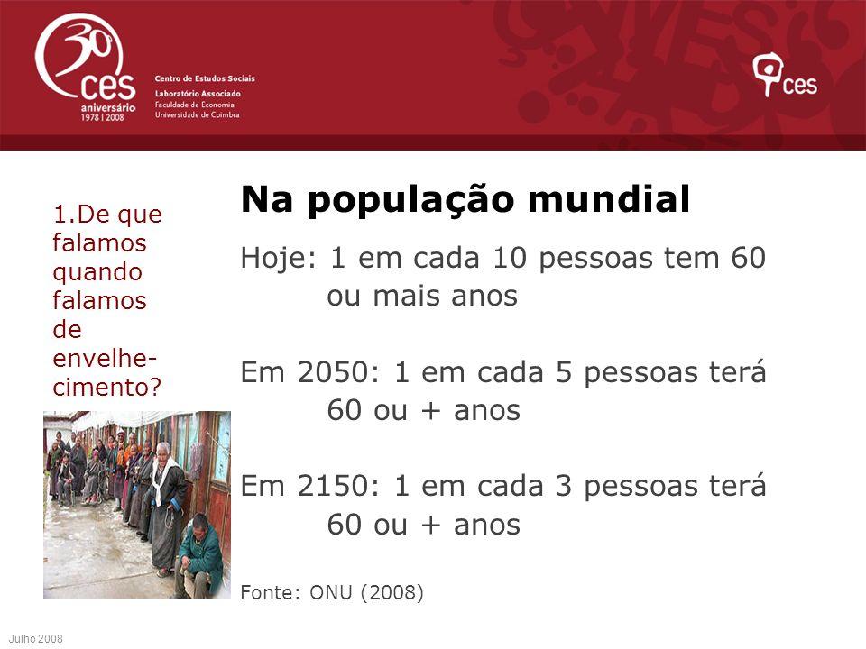 Na população mundial Hoje: 1 em cada 10 pessoas tem 60 ou mais anos Em 2050: 1 em cada 5 pessoas terá 60 ou + anos Em 2150: 1 em cada 3 pessoas terá 6