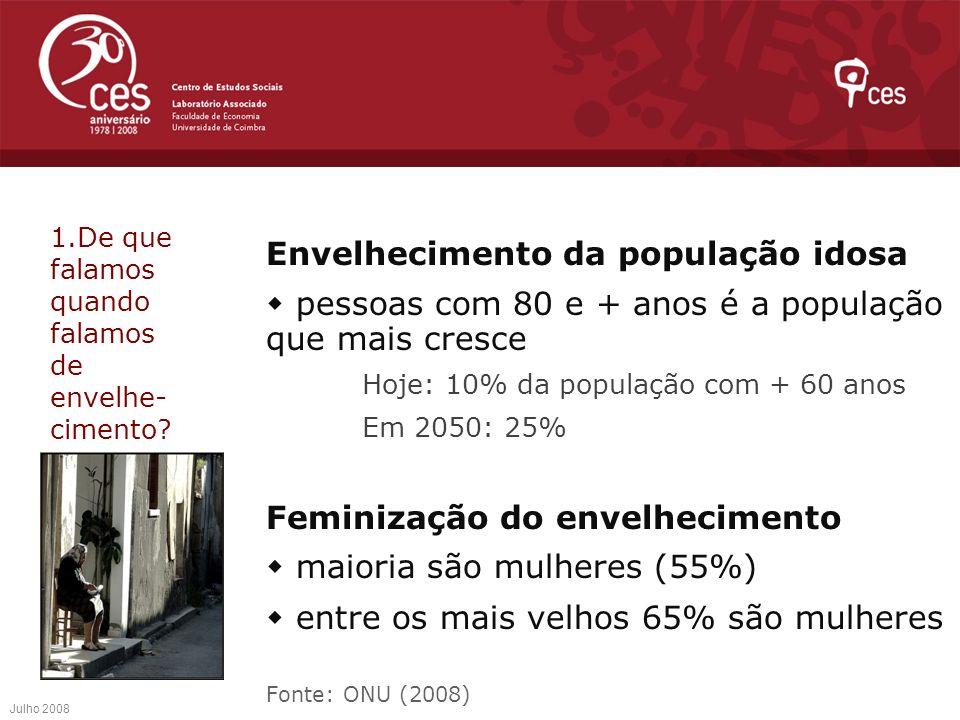 Envelhecimento da população idosa pessoas com 80 e + anos é a população que mais cresce Hoje: 10% da população com + 60 anos Em 2050: 25% Feminização