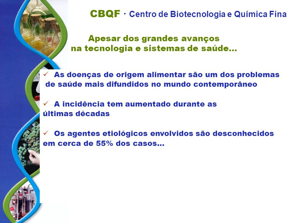 CBQF · Centro de Biotecnologia e Química Fina Apesar dos grandes avanços na tecnologia e sistemas de saúde... As doenças de origem alimentar são um do