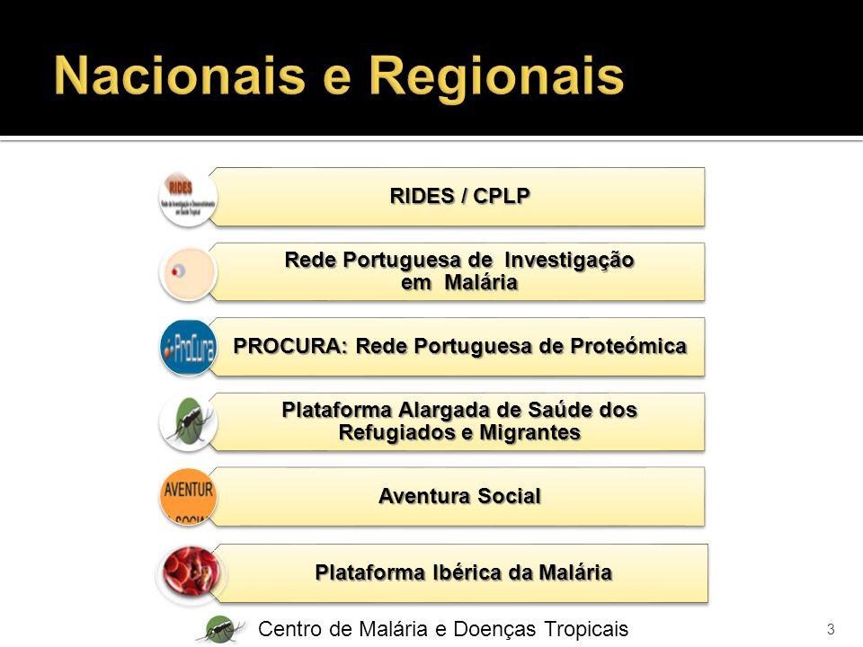 RIDES / CPLP Rede Portuguesa de Investigação em Malária PROCURA: Rede Portuguesa de Proteómica Plataforma Alargada de Saúde dos Refugiados e Migrantes Aventura Social Plataforma Ibérica da Malária Centro de Malária e Doenças Tropicais 3